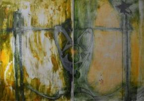 La soledad / Solitude 146 x 130 cm print and collage paper with canvas